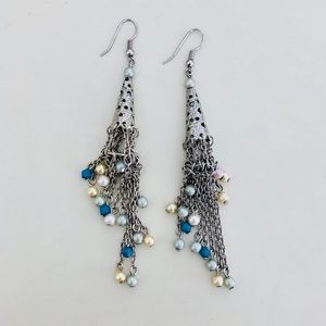 Jewelry - Silver & Pastel Beads Dangle Earrings